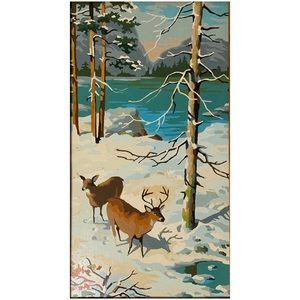 Vintage Paint-by-Numbers Winter Landscape Deer